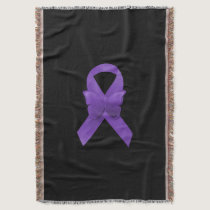 Purple Awareness Ribbon Throw Blanket
