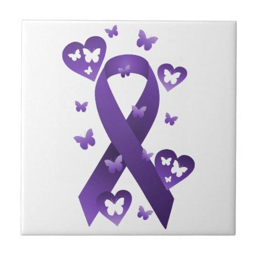 Purple Awareness Ribbon Ceramic Tiles