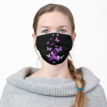 Purple Awareness Ribbon with Butterflies Adult Cloth Face Mask