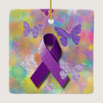 Purple Awareness Ribbon with butterflies Ceramic Ornament