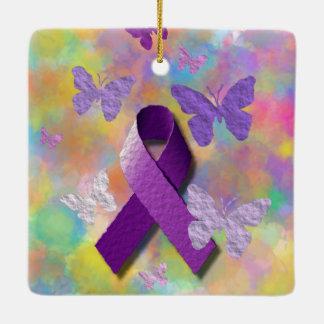 Purple Awareness Ribbon with butterflies Ceramic Ornament
