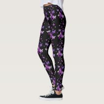 Purple Awareness Ribbon with Butterflies Leggings