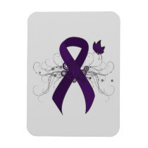 Purple Awareness Ribbon with Butterfly Magnet