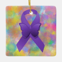 Purple Awareness Ribbon with Colorful Ceramic Ornament