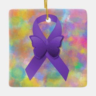 Purple Awareness Ribbon with Colorful Ceramic Ornament