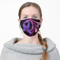 Purple Awareness Ribbon with Floral Art Cloth Fac Adult Cloth Face Mask