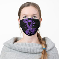 Purple Awareness Ribbon with hearts & Butterflies Adult Cloth Face Mask