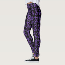 Purple Awareness Ribbon with  Hearts & Butterflies Leggings