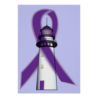 Purple Awareness Ribbon with Lighthouse of Hope Poster