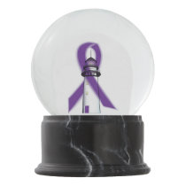 Purple Awareness Ribbon with Lighthouse of Hope Snow Globe