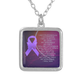 Purple Awareness Ribbon with poem Square Pendant Necklace