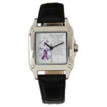 Purple Awareness Ribbon with poem Wrist Watch