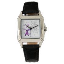 Purple Awareness Ribbon with poem Wrist Watch