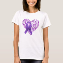 Purple Awareness Ribbon with Roses T-Shirt