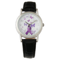 Purple Awareness Ribbon Wrist Watch