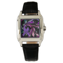 Purple Awareness Ribbon Wrist Watches