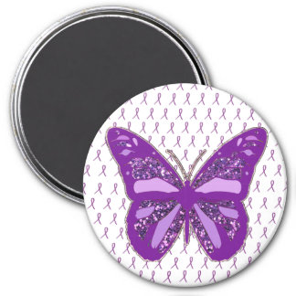 Purple Awareness Ribbons Butterfly Magnet