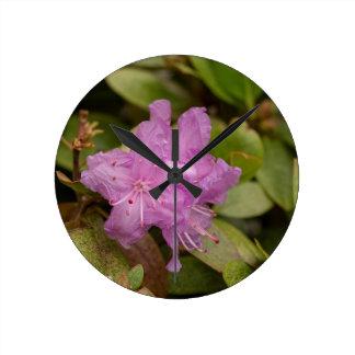 Purple Azalea Round Wallclocks