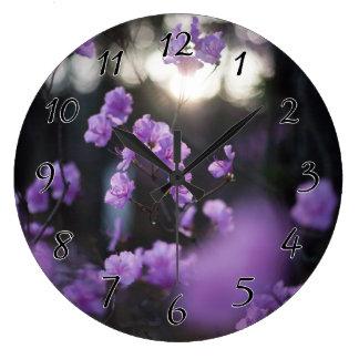 Purple Azaleas of Hope Large Clock