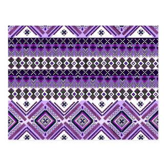 Purple Aztec Andes Tribal Pattern Postcard