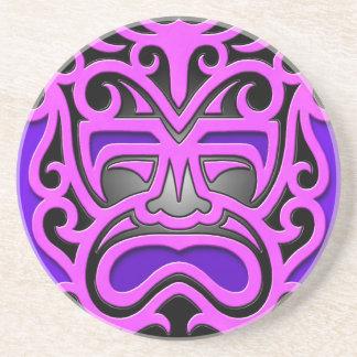 Purple Aztec Mask Drink Coaster