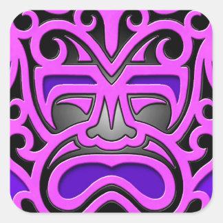 Purple Aztec Mask Square Sticker