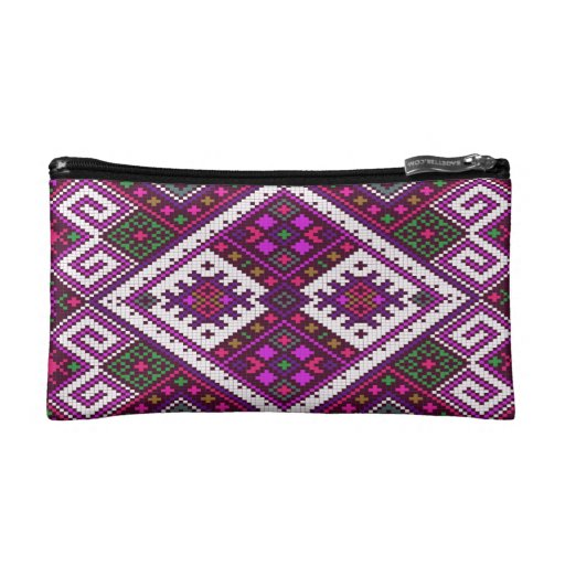 Purple Aztec patterned makeup case. Cosmetic Bag