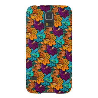 Purple Azur Orange Hibiscus Pattern Case For Galaxy S5