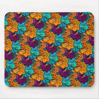 Purple Azur Orange Hibiscus Pattern Mouse Pad