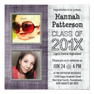 Purple Baby and Grad Photo Graduation 5.25x5.25 Square Paper Invitation Card
