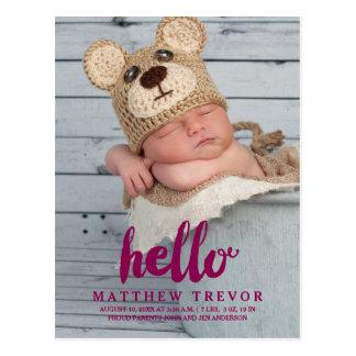 Purple Baby Birth Announcement Postcard | Hello