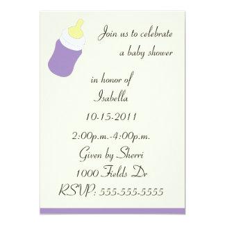 Purple baby bottle baby shower invitation