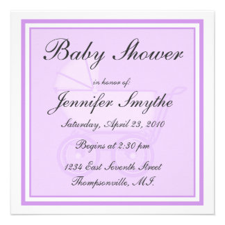 Purple Baby Carriage Baby Shower Invitation