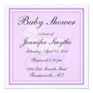 "Purple Baby Carriage Baby Shower Invitation 5.25"" Square Invitation Card"