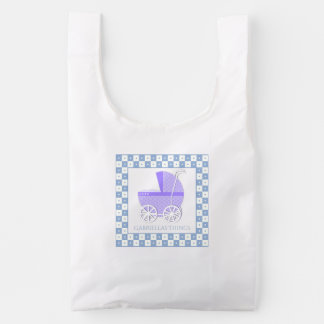 Purple Baby Carriage Personalized Reusable Bag
