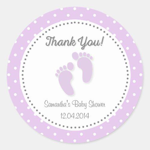 Purple Baby Feet Baby Shower Sticker