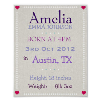Purple Baby Girl personalized date of birth print