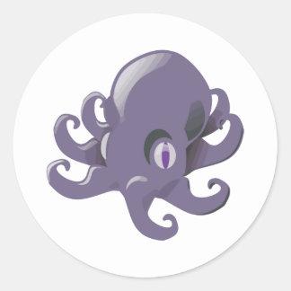 Purple Baby Octopus Classic Round Sticker