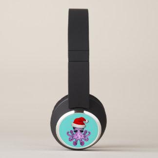 Purple Baby Octopus Wearing a Santa Hat Headphones