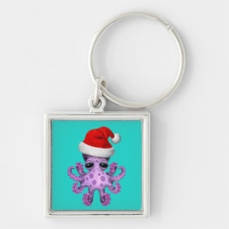 Purple Baby Octopus Wearing a Santa Hat Keychain