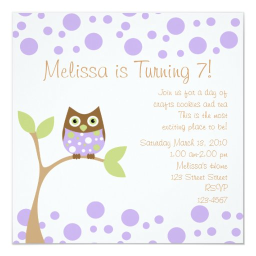 Purple Baby Owl Personalized Invite