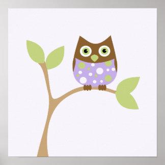 Purple Baby Owl Poster