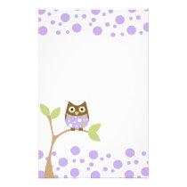 Purple Baby Owl Stationery