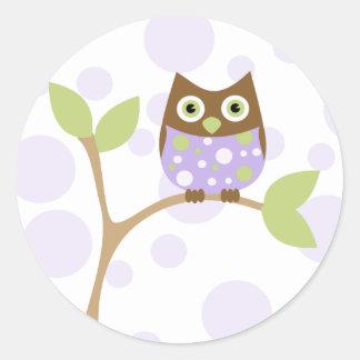 Purple Baby Owl Round Sticker