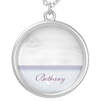 Purple Baby Photo Silver Necklace