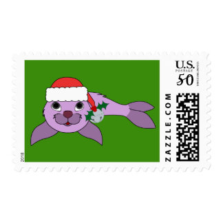 Purple Baby Seal with Santa Hat & Silver Bell Postage