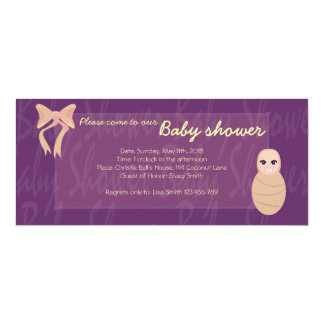 Purple Baby shower Baby in a bundle invitation