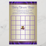 """Purple Baby Shower Bingo Girl Baby Shower Games<br><div class=""""desc"""">Baby shower bingo game with adorable ethnic baby girl wearing a pretty purple tutu and string of pearls on a pair of elegant gold high heel shoes on a rich purple and gold background. This cute baby shower bingo game card is easily customized with your text.</div>"""