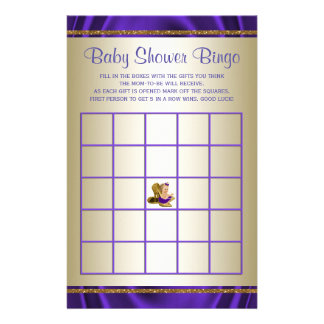 Purple Baby Shower Bingo Girl Baby Shower Games Flyer