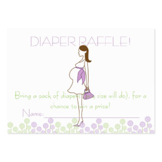 Purple Baby Shower Diaper Raffle Tickets Large Business Cards (Pack Of 100)
